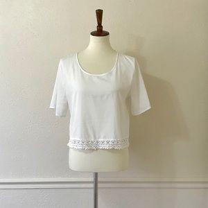 ABOUND White Crochet Trim Semi Crop Top